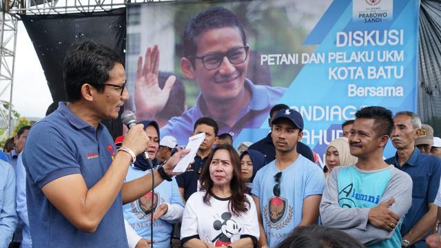 Sandiaga dan Gabungan Kelompok Tani se-Kota Batu dan Pelaku UMKM Malang, Jawa Timur