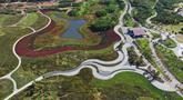 Foto dari udara menunjukkan pemandangan objek wisata di Donghu, Distrik Kaiping, Kota Tangshan, Provinsi Hebei, China, 17 September 2020. Tangshan membersihkan 72 perusahaan penyebab polusi dan 327 pekarangan yang terbengkalai tanpa pemilik di Donghu sejak 2018. (Xinhua/Yang Shiyao)