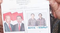 Sebuah surat suara Pilkada DKI bergambar pasangan calon Gubernur DKI Jakarta Ahok - Djarot nyasar ke TPS 20 Kelurahan Ardipura, Kota Jayapura.