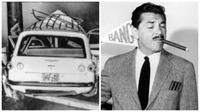 Ernie Kovacs dan mobilnya yang hancur (Los Angeles Times)
