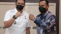 Wali Kota Medan, Bobby Nasution, menerima kunjungan kerja Bupati Aceh Timur, Hasballah Bin M Thaib di Balai Kota Medan, Jalan Kapten Maulana Lubis