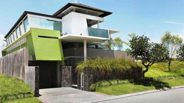 Desain Rumah Modern Kontemporer Futuristik Dengan Aksen Warna Hijau Lifestyle Liputan6 Com