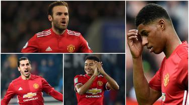 Berikut ini lima pemain yang bisa terancam posisinya jika Alexis Sanches jadi datang ke Old Trafford. Diantaranya, Henrikh Mkhitaryan, Juan Mata dan Marcus Rashford (Foto- foto Kolase AP dan AFP)