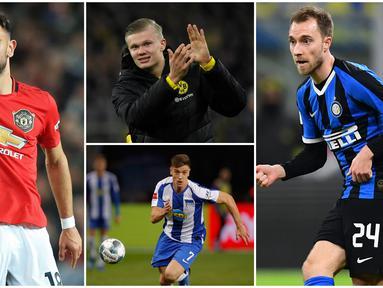 Berikut ini daftar pemain yang mewarnai bursa transfer musim dingin 2020. Diantaranya Erling Haaland, Bruno Fernandes dan Christian Eriksen. (Foto Kolase AFP)