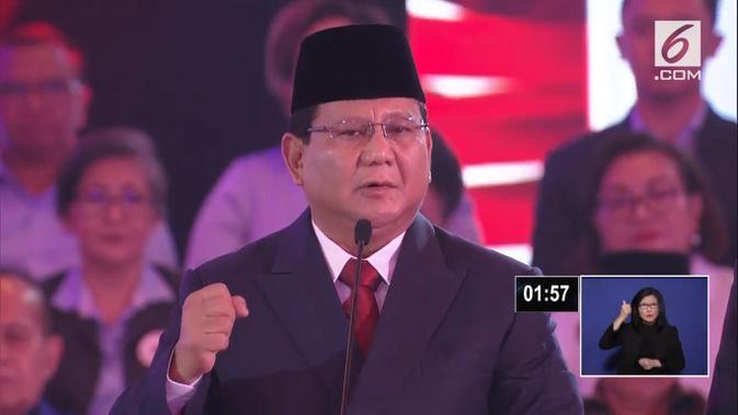 Calon presiden Prabowo Subianto saat debat capres cawapres 2019. (Liputan6.com)