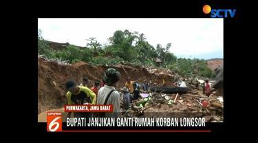 Pemda Purwakarta menjanjikan akan membangun kembali rumah semua korban bencana longsor yang terjadi di Kampung Krajan, Kecamatan Pondoksalam.