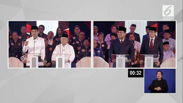Debat perdana Pilpres 2019 sesi kedua dengan tema Hukum, HAM, Korupsi, dan Terorisme berlangsung di Hotel Bidakara, Jakarta Selatan.