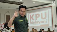 Ketua Umum Partai Bulan Bintang (PBB) Yusril Ihza Mahendra melambaikan tangan saat penetapan partai peserta Pemilu 2019 di Kantor KPU, Jakarta, Selasa (6/3). (Merdeka.com/Iqbal Nugroho)