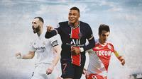 Ilustrasi - Karim Benzema, Kylian Mbappe, Wissam Ben Yedder (Bola.com/Adreanus Titus)