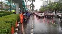 Banjir di Jalan Asia-Afrika, Senayan, Jaksel, surut. (Twitter @DinasSDAJakarta)