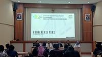 Konferensi Pers RSMH Palembang terkait isu pasiennya yang menderita Virus Corona (Liputan6.com / Nefri Inge)