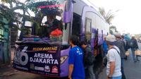 Aremania Jakarta menggelar mudik bareng Idulfitri 2018. (Bola.com/Dok Arema Jakarta)