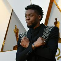 Aktor Chadwick Boseman berpose saat menghadiri Academy Awards ke-90 di Hollywood, California (4/3). Chadwick Boseman tiba mengenakan jas bertema Black Panther pada perhelatan Academy Awards atau Oscar 2018 tersebut. (AFP Photo/Valerie Macon)