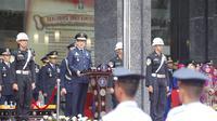 Menteri Hukum dan HAM Yasonna Laoly memberi arahan dalam apel peringatan hari jadi Direktorat Jenderal Imigrasi ke-69.