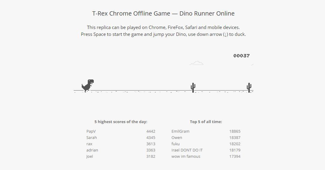 T-Rex Run milik pada Google Chrome bisa dimainkan jika koneksi internet terputus.