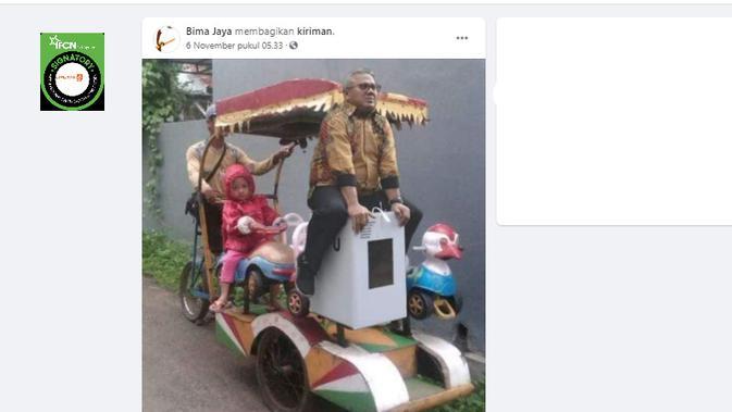 Cek Fakta Liputan6.com menelusuri foto Ketua KPU Arief Budiman sedang menaiki odong-odong kotak suara