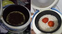 6 Cara Masak Pakai Rice Cooker ala Anak Kos Ini Kreatif Banget (sumber: Twitter.com/mbuh_lali dan Twitter.com/o_kuza)