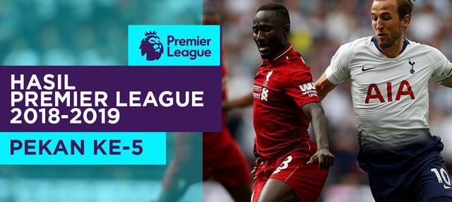 Hasil Premier League 2018-2019 pekan ke-5. Liverpool menang 2-1 atas Tottenham Hotspur.