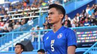 Bek Arema FC, Bagas Adi Nugroho, pemain yang kerap menjadi langganan Timnas Indonesia. (Bola.com/Iwan Setiawan)
