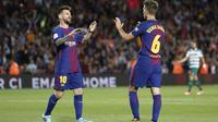 Selebrasi pemain Barcelona usai menjebol gawang Eibar (AFP)