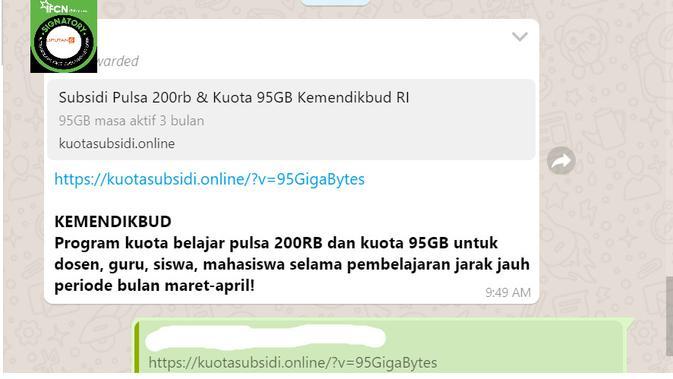 Cek Fakta Liputan6.com menelusuri informasi tautan pendafratan subsidi pulsa 200 ribu dan kuota 95 GB dari Kemendikbud