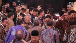 Menteri PUPR Basuki Hadimuljono, Menko Polhukam Wiranto dan Menko Kemaritiman LuhutBinsarPandjaitan ketika menghadiri Debat Capres di Hotel Sultan, Jakarta, Minggu (17/2). (Liputan6.com/Faizal Fanani)