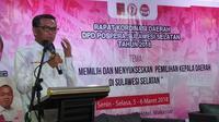 Cagub Sulsel Nurdin Abdullah hadiri rakorda DPD Pospera di Makassar (Liputan6.com/ Eka Hakim)