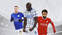 Ilustrasi - Jamie Vardy, Romelu Lukaku, Mohamed Salah (Bola.com/Adreanus Titus)