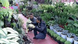 Pengunjung memilih tanaman yang dijual dalam pameran Flora dan Fauna 2018 di Taman Lapangan Banteng, Jakarta, Selasa (21/7). Pameran menampilkan berbagai jenis tanaman dan hewan. (Liputan6.com/Immanuel Antonius)