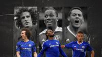 David Luiz, Nemanja Matic dan Didier Drogba. (Bola.com/Dody Iryawan)