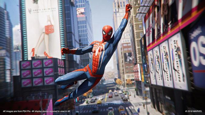 Spider-Man alter ego Peter Parker berayun di kerumunan gedung di New York. Liputan6.com/ Yuslianson