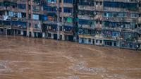 Banjir besar di daereah Chongqing, provinsi Sichuan. Dok: Xinhua via China Daily