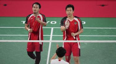 Foto: Sikat Ganda Tuan Rumah, Mohammad Ahsan/Hendra Setiawan Lolos ke Semifinal Olimpiade Tokyo 2020