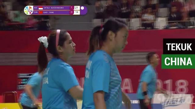 Berita video ganda putri Indonesia berhasil mengalahkan Xiao / Yang wakil China dengan skor 21-15, 21-14, Senin (8/10/2018).