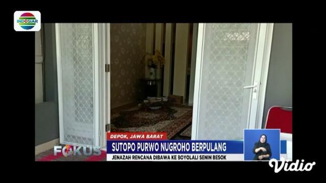 Jenazah Sutopo Purwo Nugroho akan disemayamkan di Cibubur sebelum dimakamakan ke tempat kelahirannya di Boyolali, Jawa Tengah.