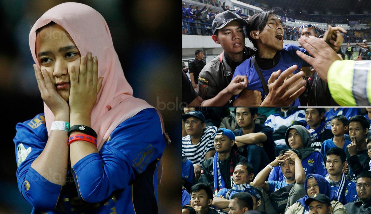 Berikut ini ekpresi sedih para Bobotoh, saat Persib tersingkir dari Piala Presiden 2018 setelah ditaklukkan PSM dengan skor 0-1. (Bola.com/M Iqbal Ichsan)