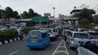 Suasana kepadatan kendaraan yang hendak menuju Puncak Bogor (Liputan6.com/Achmad Sudarno)