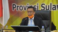 Juru Bicara Gugus Tugas Penanganan Covid-19 Sulbar Safaruddin Sanusi saat konfrensi pers terkait perkembangan kasus positif Covid-19 (Abdul Rajab Umar/Liputan6.com)