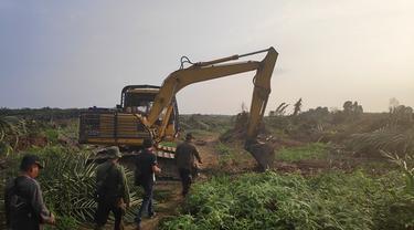 Alat berat yang dikerahkan untuk melaksanakan eksekusi lahan Desa Gondai, Kabupaten Pelalawan.