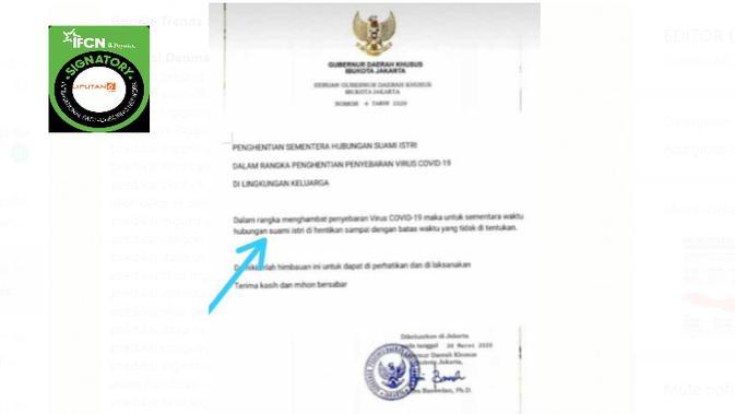 Cek Fakta Liputan6.com menelusuri klaim surat seruan penghentian sementara hubungan suami istri