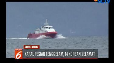 14 korban akhirnya selamat setelah ditolong Tim SAR Ambon dengan Kapal Negara SAR 235 Abimanyu.