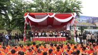 Para tersangka narkoba di Polrestabes Surabaya. (Dian Kurniawan/Liputan6.com)