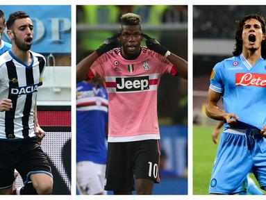 Kemenangan telak 6-2 Manchester United atas AS Roma, Kamis (29/4/2021) mengisyaratkan kembali akan kehebatan 3 pemain alumnus Serie-A yang memperkuat Setan Merah dalam laga tersebut. Merekalah, Paul Pogba, Edinson Cavani dan Bruno Fernandes. (Kolase Foto AFP)