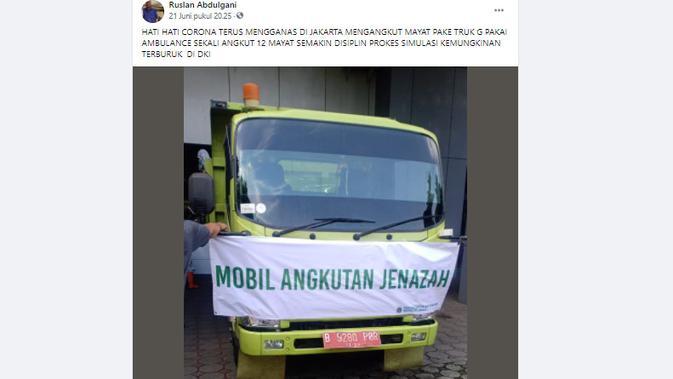 Cek Fakta Liputan6.com menelusuri klaim jenzah Covid-19 Jakarta diangkut truk tak lagi pakai ambulans