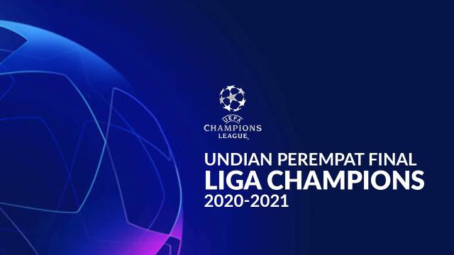 Berita motion grafis hasil undian perempatfinal Liga Champions 2020/2021, Real Madrid hadapi Liverpool.