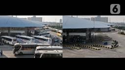 Foto kombo yang menunjukkan aktivitas pemudik pada H-8 Idul Fitri tahun lalu di Terminal Pulo Gebang, Jakarta, Selasa (28/5/2019) dan suasana sepi arus mudik akibat pandemi virus corona COVID-19 di Terminal Pulo Gebang, Minggu (17/5/2020). (merdeka.com/Iqbal S. Nugroho)