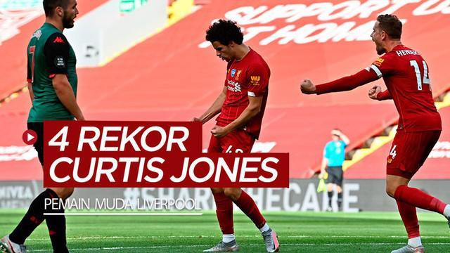 Berita video rekor-rekor yang pernah ditorehkan pemain muda Liverpool, Curtis Jones. Apa saja?