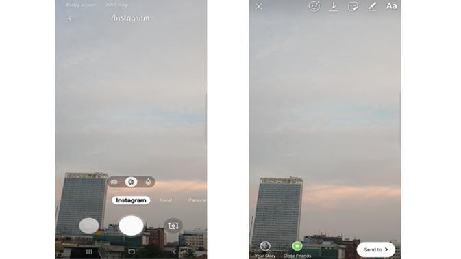 Instagram mode pada Galaxy S10 Plus (Foto: Andina Librianty/Liputan6.com)