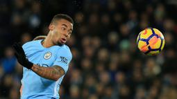 Pemain Manchester City asal Brasil, Gabriel Jesus berada pada urutan ketiga deretan top scorer sementara The Citizens, Jesus telah mengoleksi total 10 gol untuk timnya. (AFP/Lindsey Parnaby)
