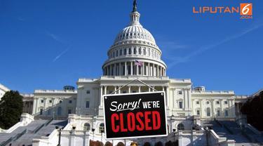 Banner Infografis Government Shutdown Terlama dalam Sejarah AS. (Sumber Foto: AFP)